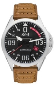 Avi 8 Avi-8 Men's P-51 Mustang Automatc Bottisham Edition Gift Set with Tan Genuine Leather Strap Watch 43mm and Additional Brown Nylon Canvas Strap