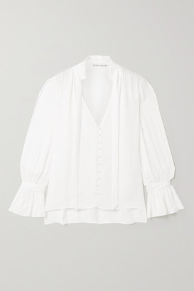Alice + Olivia Alice Olivia - Reilly Pussy-bow Ruffled Georgette Blouse - Off-white