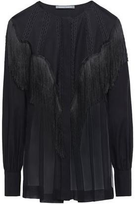 Alberta Ferretti Lattice-trimmed Fringed Silk-chiffon Blouse