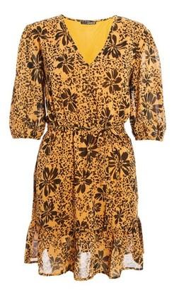 Dorothy Perkins Womens Quiz Mustard Floral Print Chiffon Finish Skater Dress, Mustard