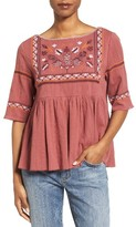 Petite Women's Caslon Embroidered Babydoll Top
