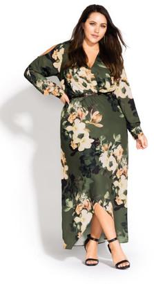 City Chic Green Jasmine Maxi Dress - moss