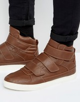 Asos High Top Sneakers in Brown With Straps
