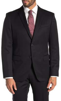 John Varvatos Bedford Black Solid Two Button Notch Lapel Wool Suit Separates Jacket
