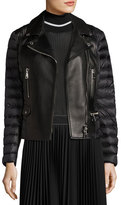 Moncler Souci Mixed-Media Leather Moto Jacket, Black