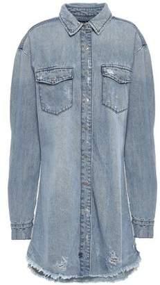 Ksubi Distressed Denim Mini Shirt Dress
