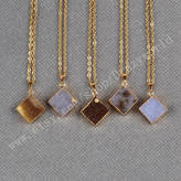 Etsy 1Pcs Pretty Gold Plated Diamond Shape Natural Color Drusy Druzy Agate Geode Necklace Electroformed G