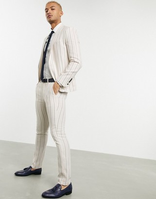 Twisted Tailor skinny suit pants with stripes in cream