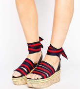 Asos TAKE COVER Wide Fit Tie Leg Flatform Wedges