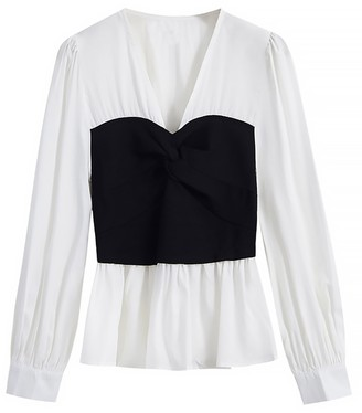 Goodnight Macaroon 'Hazel' White Shirt with Black Knot Front Top