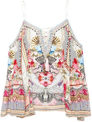 Camilla Cold-shoulder Embellished Printed Silk Crepe De Chine Blouse