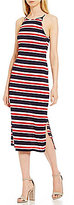 Soprano Striped High Neck Sleeveless Midi Dress