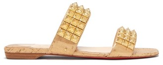 Christian Louboutin Myriadiam Embellished Double-strap Slides - Womens - Gold