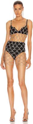 Fannie Schiavoni Devon Dress with Crystals in Silver   FWRD