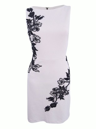 Betsey Johnson Women's Scuba Crepe Sheath Dress with Lace Trim