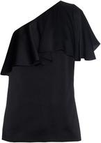 Lanvin One-shoulder washed-satin ruffled top