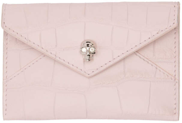 Alexander McQueen Pink Croc Envelope Card Holder