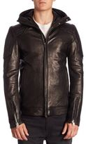 Diesel Black Gold Quilted Lambskin Leather Hooded Biker Jacket