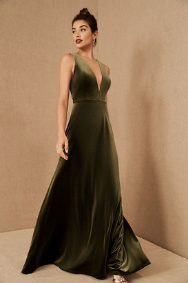 Jenny Yoo Logan Velvet Dress By in Green Size 18