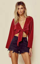 Blue Life crystal pleated kimono tie front top
