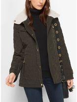 Michael Kors Fleece-Collared Quilted Jacket