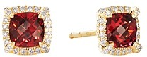 David Yurman Petite Chatelaine Pave Bezel Stud Earrings in 18K Yellow Gold with Garnet and Diamonds
