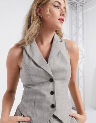 ASOS DESIGN mansy 3 piece suit suit vest in taupe texture