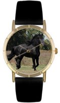 Whimsical Watches Kids' P0110025 Classic Friesian Horse Black Leather And Goldtone Photo Watch
