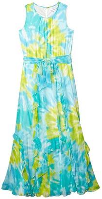 Calvin Klein Printed Maxi Dress w/ Double Ruffle (Ocean/Marg) Women's Dress