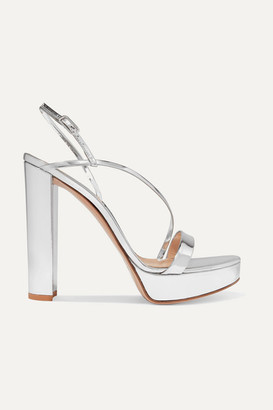 Gianvito Rossi 100 Mirrored-leather Platform Sandals - Silver