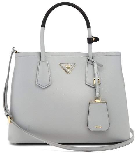 Prada Double Saffiano Leather Bag - Womens - Light Grey