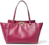 Valentino The Rockstud Medium Leather Tote - Grape