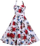 YACUN Women's 1950s Halter Floral Vintage Rockabilly Dress XL