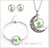 Nobrand No brand Lovely Christmas Snowman women statement necklace earrings bracelet set fashion New Year party jewelry sets