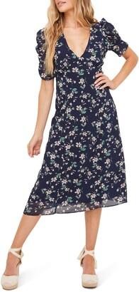 ALL IN FAVOR Ruched Sleeve Midi Dress