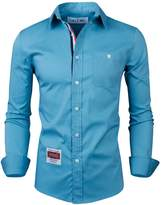 Tom's Ware Mens Trendy Roll-up Slim Fit Colored Inner Lining Collar Shirt TWNEL616S-L (US M)