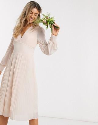 TFNC bridesmaid plunge front pleated midi dress in ecru