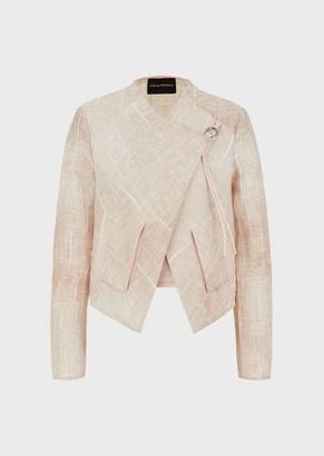 Emporio Armani Woven Linen Jacquard Jacket
