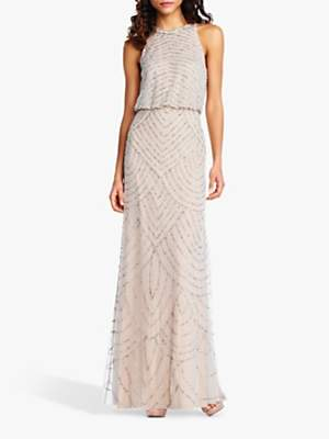 Adrianna Papell Beaded Halterneck Gown