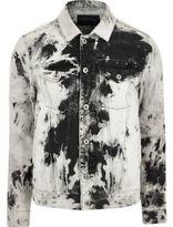 River Island Mens Black and white acid wash denim jacket