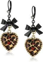 Betsey Johnson Crystal Leopard Heart and Bow Drop Earrings