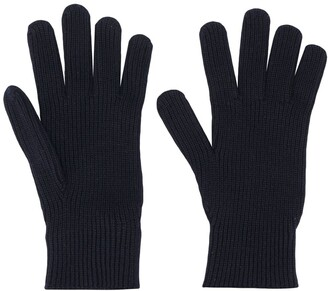 Moncler Ribbed-Knit Wool Gloves