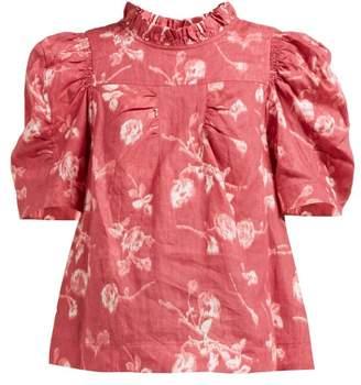 Sea Monet High Neck Floral Print Ramie Top - Womens - Dark Pink