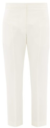 Alexander McQueen High-rise Wool-blend Crepe Cigarette Trousers - Womens - Ivory