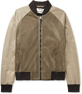 Acne Studios Suede And Cotton-Twill Bomber Jacket