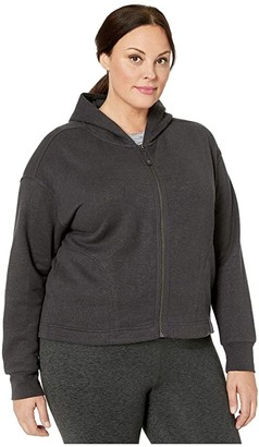 Prana Plus Size Cozy Up Zip-Up Jacket (Charcoal Heather) Women's Coat