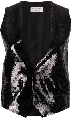Saint Laurent Sequin-Embellished Waistcoat