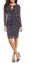 Marina Keyhole-Neck Sequin Lace Dress