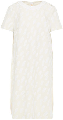 Marni Paneled Printed Cotton-blend And Silk Midi Dress