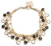 Anne Klein Black and White Dangling Stone Bracelet